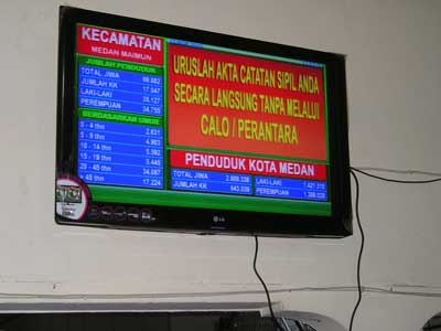 Monitor Display Dinas Kependudukan